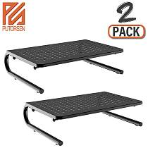 (EU EXCLUSIVE)PUTORSEN® Monitor Stand Riser with Vented Metal for Computer, Laptop, Desk, Printer with 14.5 Platform 4 Inch Height (2 Pack)