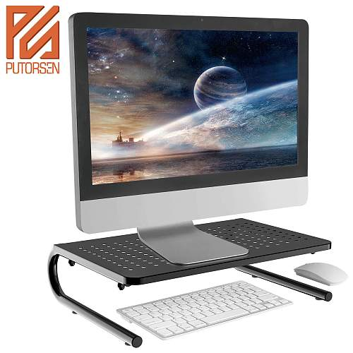 (EU EXCLUSIVE)PUTORSEN® Monitor Stand Riser with Vented Metal for Computer, Laptop, Desk, Printer with 14.5 Platform 4 Inch Height