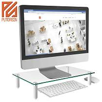 (EU EXCLUSIVE)PUTORSEN® Monitor Stand Riser for Computer, Laptop, Desk, Printer, 15.7 x 9.4 Inch Tempered glass