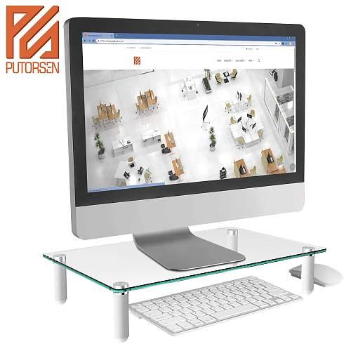 (EU EXCLUSIVE)PUTORSEN® Monitor Stand Riser for Computer, Laptop, Desk, Printer, 15.7 x 9.4 Inch Tempered glass