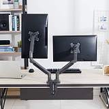 "(EU EXCLUSIVE)PUTORSEN® PC Dual Monitor Arm - Epic Aluminum Ergonomic Gas-Assisted Full Motion Double Arm Desktop Clamp Mount for 17–32"" Screens Adjustable Tilt Swivel VESA 75 to 100mm Weight up to 9kg per Arm"