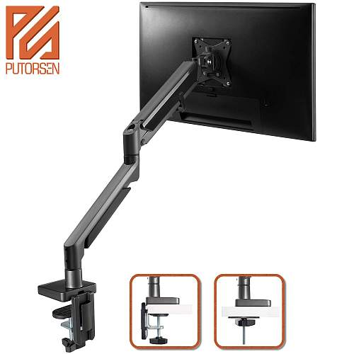 "(EU EXCLUSIVE)PUTORSEN® PC Monitor Arm - Epic Aluminum Ergonomic Gas-Assisted Full Motion Single Arm Desktop Clamp Mount for 17–32"" Screens Adjustable Tilt Swivel VESA 75 to 100mm Weight up to 9 kg"