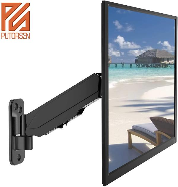 (EU EXCLUSIVE)PUTORSEN® 17-32  Monitor Wall Mount TV Wall Bracket with Adjustable Gas Spring Full Motion LED LCD Moniter Arm (Black)