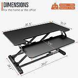 (US EXCLUSIVE)PUTORSEN Standing Desk Converter – 32 inch Height Adjustable Stand Up Desk, Ergonomic Sit Stand Dual Monitor and Laptop Riser Workstation Black