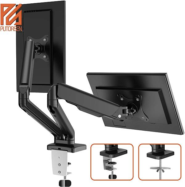 (US EXCLUSIVE) Dual Monitor Stand - PUTORSEN Adjustable Gas Spring Monitor Desk Mount with C Clamp, Grommet Mounting Base - Dual Monitor Arm Fit Two 17 to 27 Inch Computer Screens - Each Arm Holds 4.4 to 14.3lbs