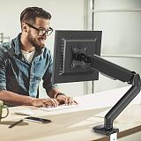 ( US EXCLUSIVE)Single Monitor Desk Mount Stand - PUTORSEN Articulating Gas Spring Monitor Arm, Adjustable VESA Mount Desk Stand with Clamp and Grommet Base - Fits 17 to 27 Inch Computer Screens, Hold up to 14.3lbs