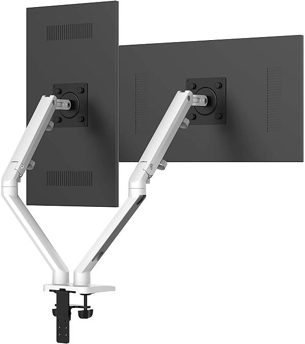 """PUTORSEN® Dual Monitor Arm Mount - Heavy Duty Aluminum Height-Assisted Full Motion Double Arm Desktop Clamp Mount for 17–32"""" Screens Adjustable Tilt Swivel VESA 75 to 100mm Weight up to 9.5kg"""