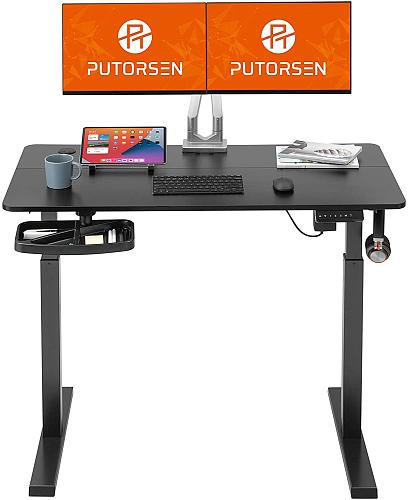 (US EXCLUSIVE) PUTORSEN Electric Height Adjustable Standing Desk, 48 x 24 Inches Sit Stand Home Office Table with Splice Board, Black Frame/Black Top Stand Up Computer Desk with Memory Preset Controller
