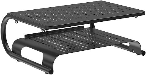 PUTORSEN Monitor Stand Riser with Vented Metal for Laptop Computer, Printer, 2 Tier Desk Organizer Stand with Anti-Slip Pads Holds 44lbs, Desktop Printer Stand & Storage Shelf & Screen Holder