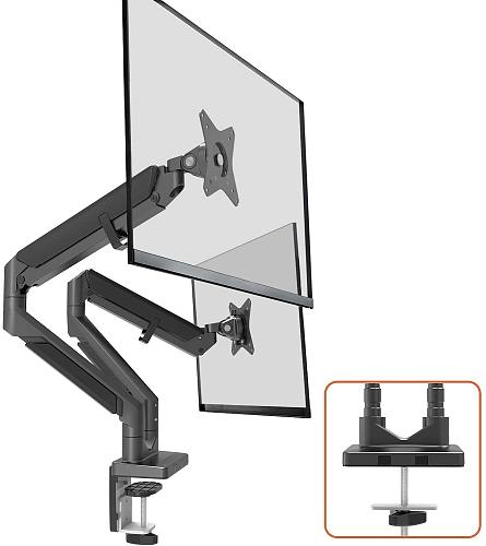 "(EU EXCLUSIVE)PUTORSEN® PC Dual Monitor Arm - Epic Aluminum Ergonomic Gas-Assisted Full Motion Double Arm Desktop Clamp Mount for 17–32"" Screens Adjustable Tilt Swivel VESA 75 to 100mm Weight up to 9kg per Arm"