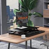 (EU EXCLUSIVE) Standing Desk Converter with Height Adjustable – PUTORSEN 28 inch Stand Up Desk, Ergonomic Sit Stand Dual Monitor and Laptop Riser Tabletop Workstation, Wide Keyboard Tray Black