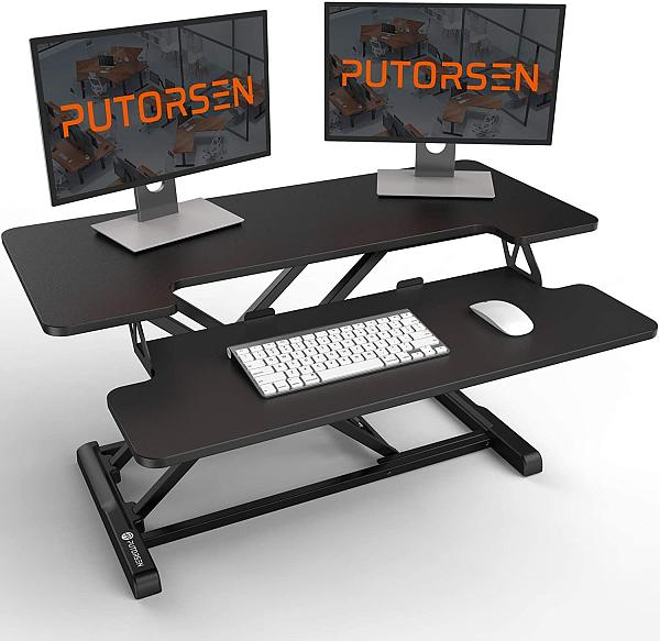 (US EXCLUSIVE) Standing Desk Converter with Height Adjustable – PUTORSEN 36 inch Spacious Stand Up Desk, Ergonomic Sit Stand Dual Monitor and Laptop Riser Tabletop Workstation, Large Keyboard Tray Black