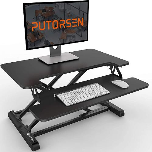 (US EXCLUSIVE) Standing Desk Converter with Height Adjustable – PUTORSEN 28 inch Stand Up Desk, Ergonomic Sit Stand Dual Monitor and Laptop Riser Tabletop Workstation, Wide Keyboard Tray Black