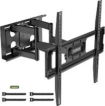 (EU EXCLUSIVE) PUTORSEN® TV Wall Bracket Swivel Tilt, Ultra Strong Double Arm Full Motion TV Mount for 32-70 Inch Flat&Curved TVs, Holds up to 50 kg, Max VESA 400x400mm, Bubble Level, Cable Ties Included