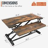 (US EXCLUSIVE) Standing Desk Converter with Height Adjustable – PUTORSEN 32 inch Stand Up Desk, Ergonomic Sit Stand Dual Monitor and Laptop Riser Tabletop Workstation Rustic