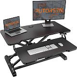 (US EXCLUSIVE) Standing Desk Converter with Height Adjustable – PUTORSEN 32 inch Stand Up Desk, Ergonomic Sit Stand Dual Monitor and Laptop Riser Tabletop Workstation,With Cable Hole Black