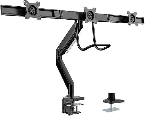 "(EU EXCLUSIVE)PUTORSEN® Aluminium Triple Monitor Mount for 17-27"" Screens - Gas Powered Three Arm Desk Mount Bracket with Clamp - +5°/-15° Tilt, ±180° Rotation & ±10° Swivel Arms - VESA: 75/100, Up to 6kg per Arm"
