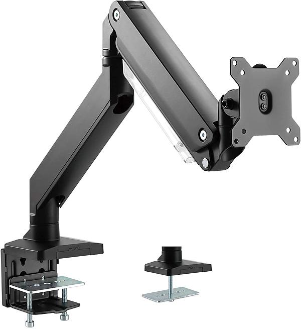 "(EU EXCLUSIVE)PUTORSEN® PC Monitor Arm - Heavy Duty Aluminum Ergonomic Gas-Assisted Full Motion Single Arm Desktop Clamp Mount for 17–35"" Screens Adjustable Tilt Swivel VESA 75 to 100mm Weight up to 15kg"