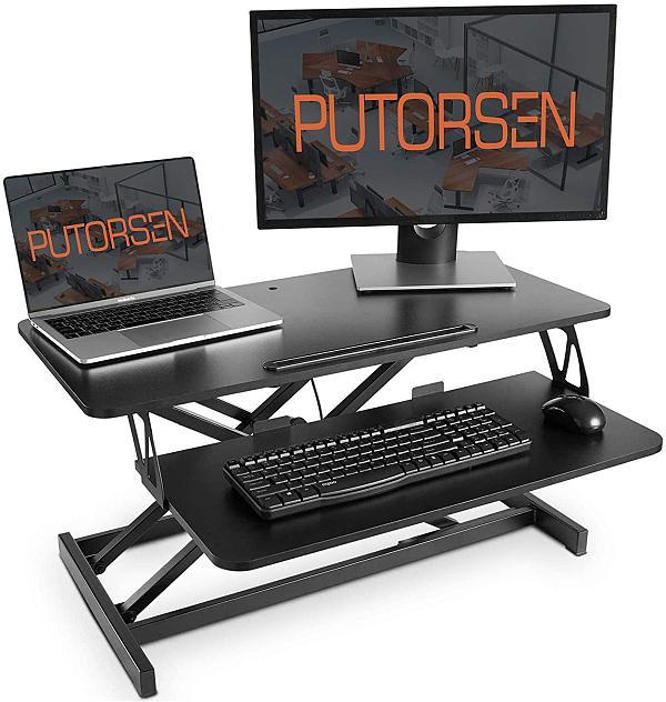 (EU EXCLUSIVE)PUTORSEN® Standing Desk Height Adjustable Sit Stand Desk Converter Stand Up Desk Riser Ergonomic Standing up Workstation with Keyboard Tray, 32  Wide Platform - Compatible with Monitor Arm