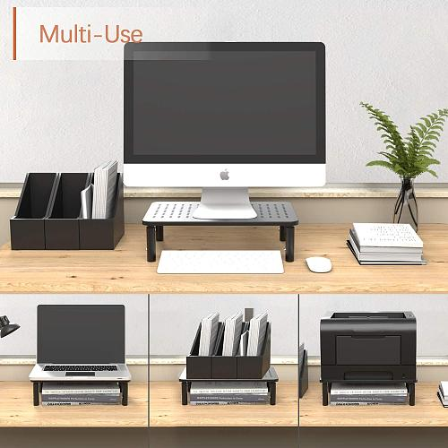 3 Height Levels Adjustable Stand with Non-Skid Rubber Sturdy Stable Black Metal Construction for Computer Monitor Stand Riser Printer Laptop Stand iMac 2 Pack PC