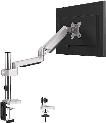 "(EU EXCLUSIVE)PUTORSEN® PC Monitor Arm - Aluminum Ergonomic Height-Assisted Full Motion Heavy Duty Single Arm Desktop Clamp Mount for 17–32"" Screens Adjustable Tilt Swivel VESA 75 to 100mm Weight up to 8kg"