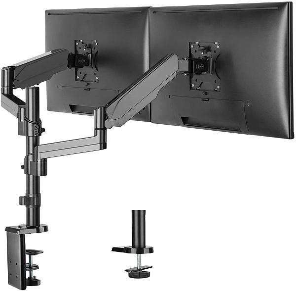 (EU EXCLUSIVE)PUTORSEN® PC Dual Monitor Arm Stand Desk Mount Bracket with Ergonomic Height Adjustable(Gas Powered) Full Motion Double Arm Desktop Clamp Mount for 17 -32  LCD LED Screens Max VESA 100x100mm up to 8kg
