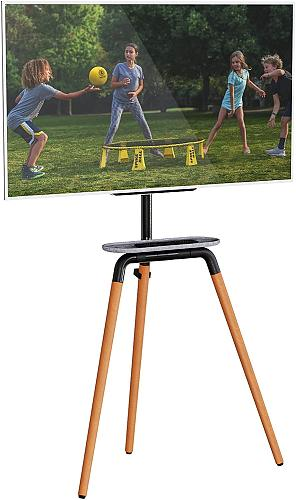Artistic Easel Tripod TV Floor Stand for 45 to 65 Inch LED LCD Screen, PUTORSEN Portable Studio TV Display Stand, Adjustable TV Studio Mount with VESA 600x400mm, Holds up to 45kg, Black