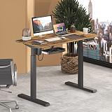 (US EXCLUSIVE) PUTORSEN Electric Height Adjustable Standing Desk, 48 x 24 Inches Sit Stand Home Office Table with Splice Board, Black Frame/Rustic Brown Top Stand Up Computer Desk with Memory Preset Controller