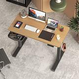 (US EXCLUSIVE) PUTORSEN Electric Height Adjustable Standing Desk, 48 x 24 Inches Sit Stand Home Office Table with Splice Board, Black Frame/Bamboo Top Stand Up Computer Desk with Memory Preset Controller