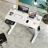 (US EXCLUSIVE) PUTORSEN Electric Height Adjustable Standing Desk, 48 x 24 Inches Sit Stand Home Office Table with Splice Board, White Frame/White Top Stand Up Computer Desk with Memory Preset Controller