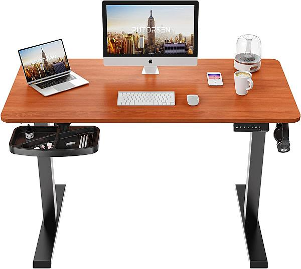 (US EXCLUSIVE) PUTORSEN Electric Height Adjustable Standing Desk, 48 x 24 Inches Sit Stand Home Office Table with Splice Board, Black Frame/Dark Walnut Top Stand Up Computer Desk with Memory Preset Controller