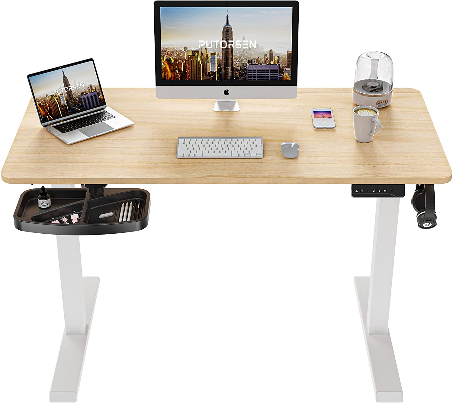 (US EXCLUSIVE) PUTORSEN Electric Height Adjustable Standing Desk, 48 x 24 Inches Sit Stand Home Office Table with Splice Board, White Frame/Cyan Chestnut Top Stand Up Computer Desk with Memory Preset Controller