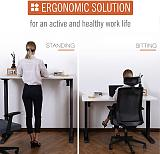 (EU EXCLUSIVE) PUTORSEN® ES12B-E Electric Standing Desk Ergonomic Height Adjustable Sit Stand Desk Frame Two-Stage Heavy Duty Steel Stand up Desk with Up Down Keyboard (Frame Only - Black)