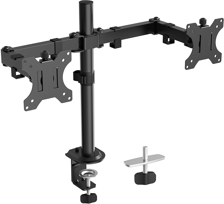 (EU EXCLUSIVE) PUTORSEN Dual Monitor Stand for 13-32 inch Ultra Screens, Height Adjustable Dual Monitor Arm Desk Mount Bracket Tilt 180° Swivel 180° Rotate 360°, VESA: 75x75-100x100mm