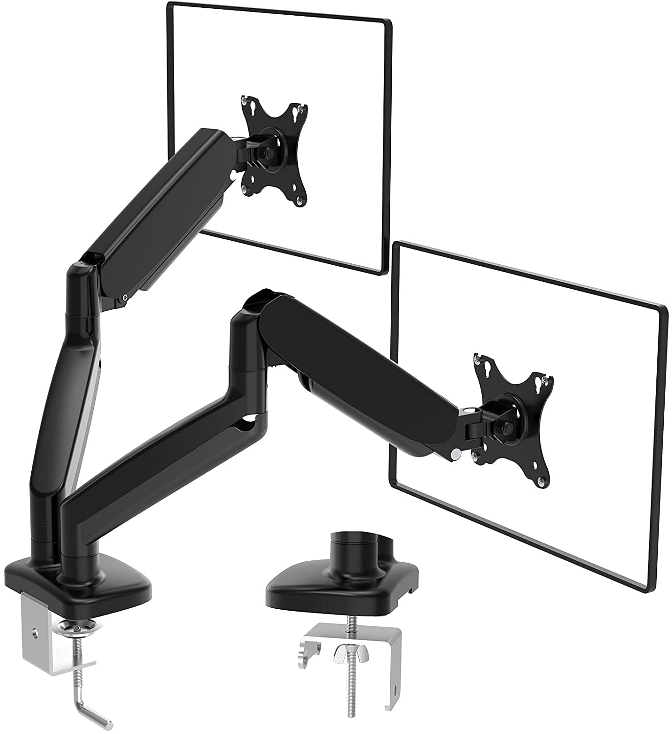 (EU EXCLUSIVE) PUTORSEN Dual Monitor Stand for 13 to 32 inch LCD LED Screens, Single Gas Spring Monitor Arm Desktop Clamp Mount Tilt Swivel VESA 75/100mm Weight 2kg to 8kg,PTMA-092