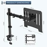 (EU EXCLUSIVE)PUTORSEN® Laptop Notebook Desk Mount Stand - Height Adjustable Single Arm Mount Compatible with 17-32  Monitor or 13-17  Laptop with Clamp and Grommet Mounting Base, VESA 75/100, Max Load 17.6lbs