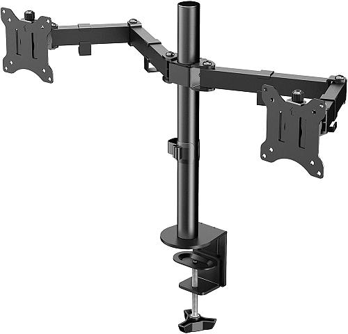 """(EU EXCLUSIVE) PUTORSEN Dual Monitor Mount, Ergonomic Height Adjustable Double Arm Monitor Bracket Stand for Two 17""""- 32"""" LCD LED Screens, VESA Dimensions 75x75-100x100 mm, Weight Capacity up to 8 kg"""