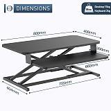 (EU EXCLUSIVE) PUTORSEN Standing Desk Converter - 32  Height Adjustable Ergonomic Sit Stand Desk Converter Stand Up Desk Riser, Standing up Workstation with Keyboard Tray