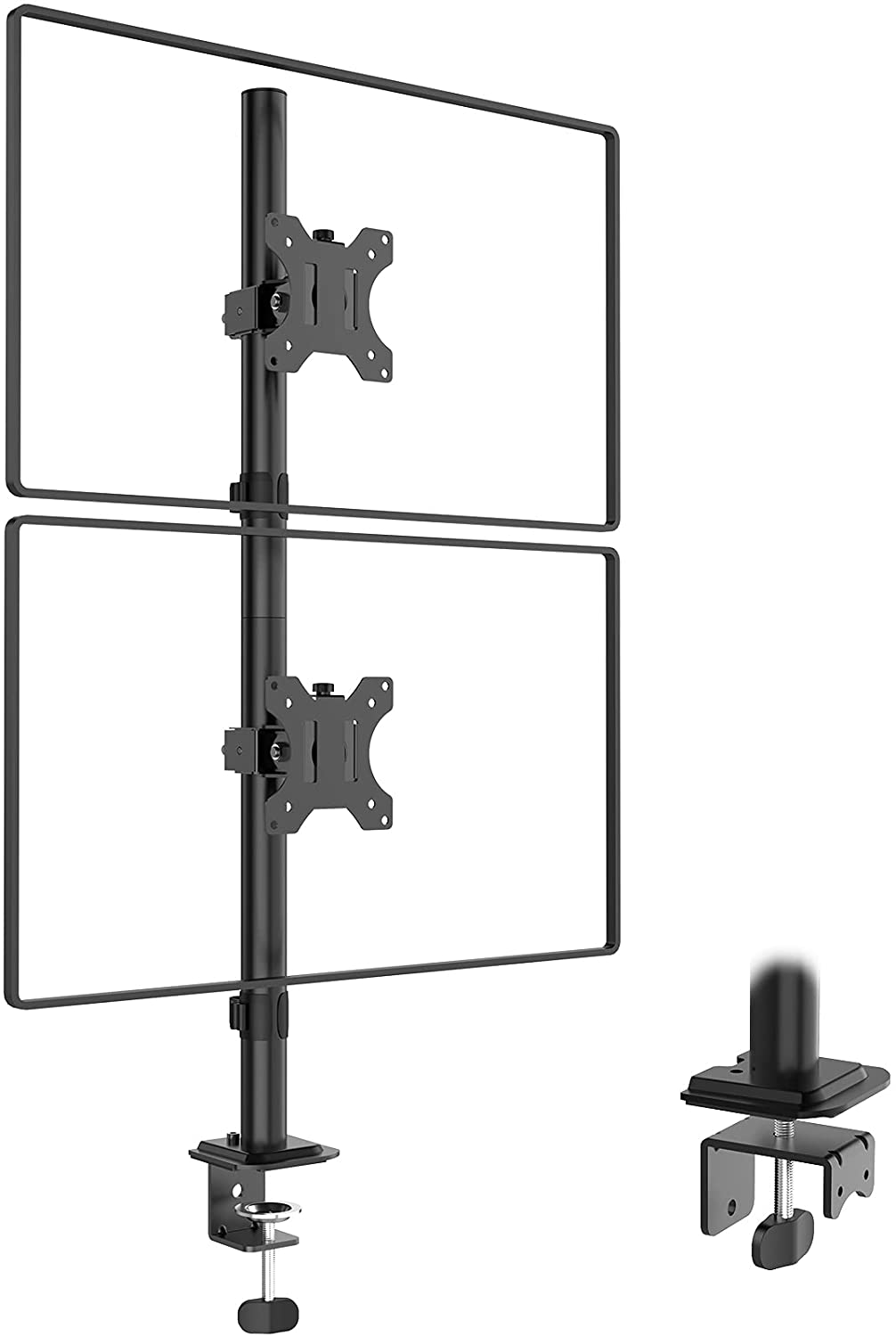 (EU EXCLUSIVE) PUTORSEN Dual Monitor Stand- Vertical Stack Monitor Desk Mount for Two Screens Up to 32 Inch Height Adjustable Screen Supports with Swivel, Tilt, Rotation, C-Clamp and Grommet Bases, Black