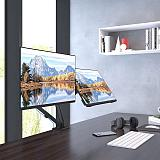 """(EU EXCLUSIVE) PUTORSEN Dual Monitor Arm, Height Adjustable (Mechanical Powered) Full Motion Double Arm Desktop Clamp Mount for 17 –27"""" Screens, VESA 75/100, Weight up to 7kg per Arm"""
