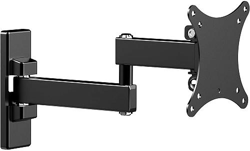 (EU EXCLUSIVE) PUTORSEN Monitor TV Wall Bracket Swivels Tilts Extends, Full Motion TV Wall Mount for Most 13-27 Inch Flat&Curved TVs, Holds up to 15 kg, VESA 75x75mm/100x100mm
