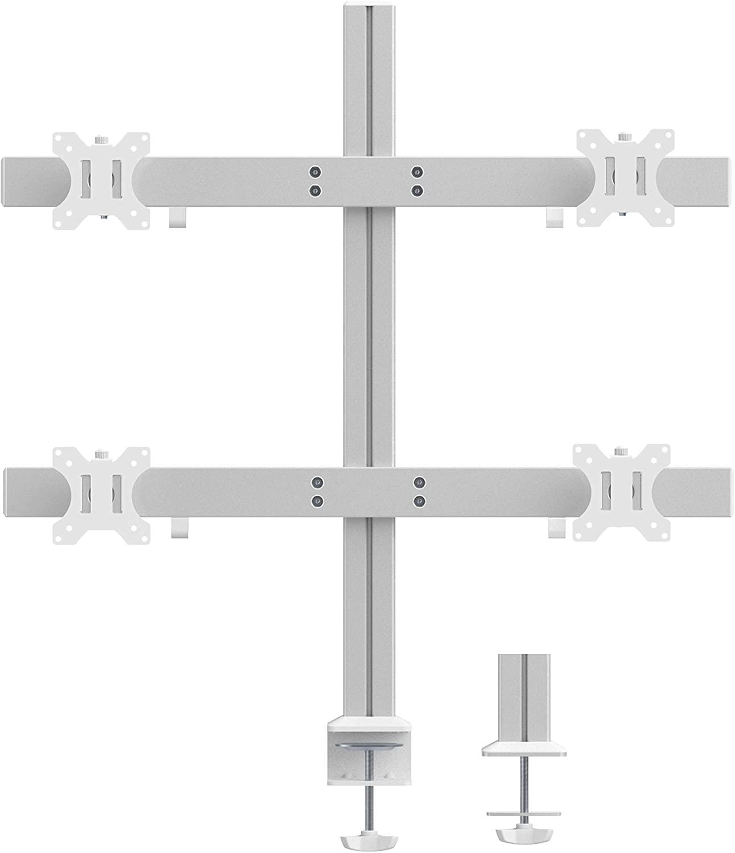 (UK EXCLUSIVE) PUTORSEN Quad Monitors Desk Mount for Four 17-32 inch LED LCD Screens, Ergonomic Heavy-Duty Aluminum Monitor Arm Stand Bracket with Tilt, Rotate & Swivel, VESA 75/100m, Weight 8kg per arm