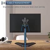 """(EU EXCLUSIVE) PUTORSEN Single Monitor Stand - Freestanding Steel Full Motion Desk Stand Riser Fits 1 Screen up to 32"""" with Height Adjustable, Tilt, Swivel, Rotation, VESA 75/100mm, 17.6 lbs Weight Capacity, Black"""