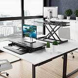 (EU EXCLUSIVE) PUTORSEN 36  Standing Desk Converter, Height Adjustable Dual Tiered Computer Workstation, Ergonomic Quick Sit to Stand Desk Riser for Dual Monitors up to 15kg, Black