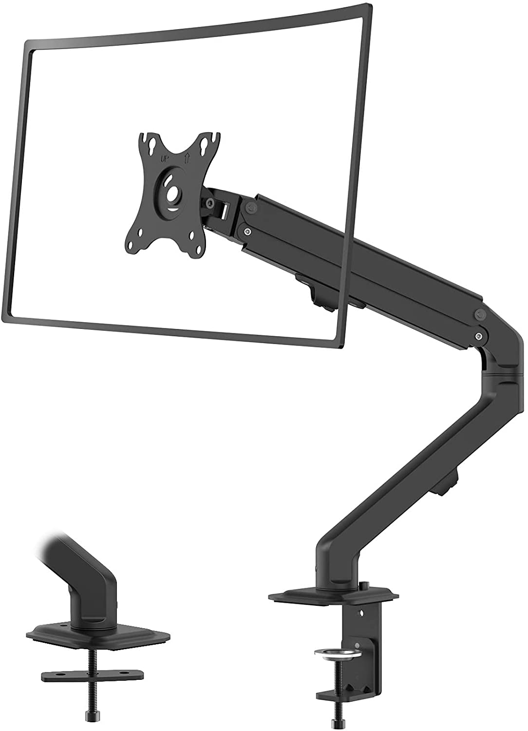 (EU EXCLUSIVE) PUTORSEN Premium PC Monitor Arm, Full Motion Mechanical Spring Arm for 17 -27  LCD LED Screens, Single Arm Desktop Clamp Mount, VESA 75 to 100mm, Weight up to 2-7kg