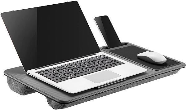 (EU EXCLUSIVE) PUTORSEN Portable Laptop Tray with Cushion, Lap Desk with Built in Mouse Pad & Anti-Slip Strip & Phone Holder for Notebook up to 17