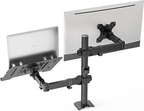(EU EXCLUSIVE) PUTORSEN Monitor Arm Desk Mount with Laptop Tray for Most 17 to 27 Inch LCD LED Screen & up to 17 Inch Notebook, Height Adjustable Desk Stand Bracket with 2 Mounting Options, VESA 75/100mm
