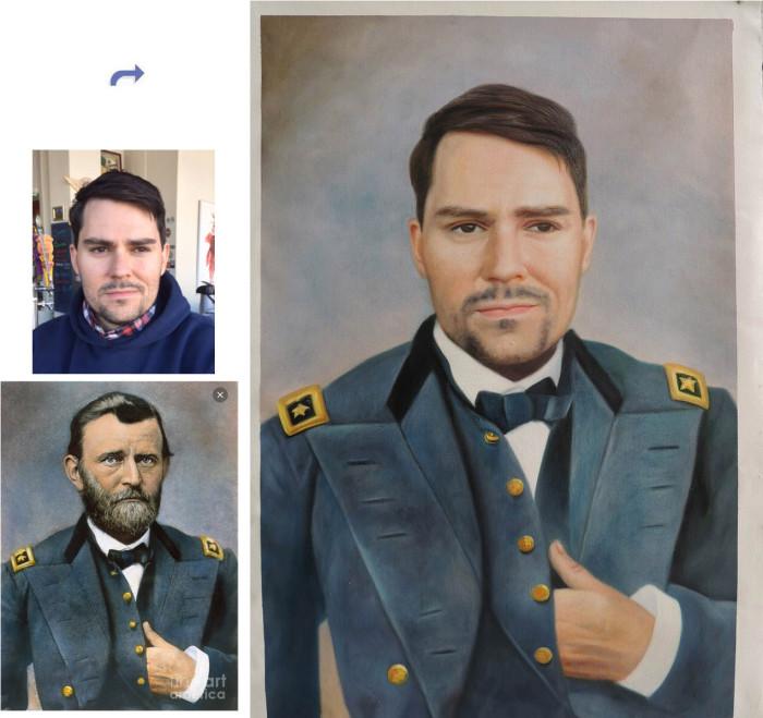 Custom oil portrait, paint face on famous history painting, Hand painted oil painting, unique portrait from photos
