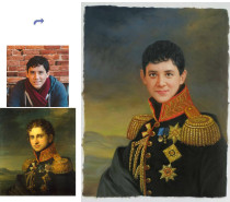 Custom oil portrait, Handmade oil painting, paint face on famous painting, portrait painting from photos