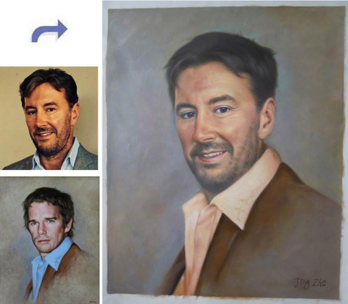 Custom oil portrait, Handmade oil painting, paint face on famous painting, portrait painting from photos
